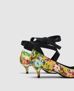 Image 4 of FLORAL PUMPS WITH TIES from Zara