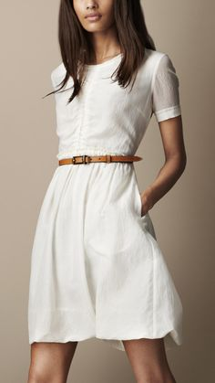 Burberry Brit Gathered Waist Silk Cotton Dress in White (chalk white)