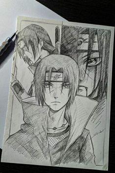 Kakashi Drawing, Naruto Sketch Drawing, Naruto Drawings, Art Drawings Sketches Simple, Anime Sketch, Naruto Shippuden Anime, Sasuke, Genos Wallpaper, Anime Negra