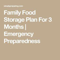 Family Food Storage Plan For 3 Months | Emergency Preparedness