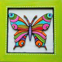 """Tableau  en bois peint du papillon """"Denzel"""""""
