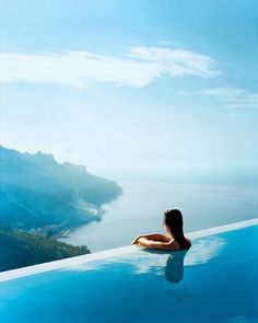The view from the infinity-edge pool at Hotel Caruso, Ravello, Italy. Now this is a pool I wouldn't mind seeing someday. Vacation Destinations, Dream Vacations, Vacation Spots, Places To Travel, Places To See, Scary Places, Places Around The World, Around The Worlds, Destination Voyage