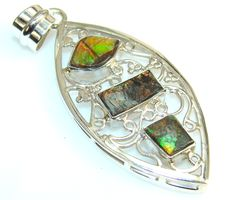 Excellent Ammolite Fossil Sterling Silver Pendant – Jewelry