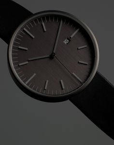 203 Series | PVD Gun Grey / Black Leather strap | #Uniformwares #UW203