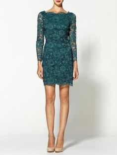 16 Dresses That'll Make You Want to Lace Up For Fall : The rich emerald hue on this Madison Marcus Elegance Lace Dress ($328) is holiday-party perfect, but also sweet for styling up with a cozy cardigan and tights if you want to pare it down just a bit.