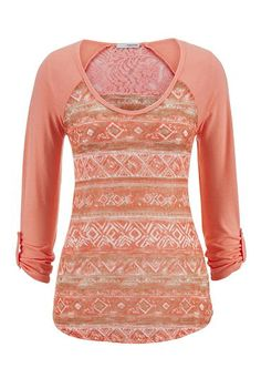 ethnic print lace back top (original price, $26) available at #Maurices