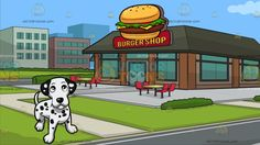 A Curious Yet Friendly Dalmatian Puppy With Outside A Burger Shop Background:  A small dog with short white fur black spots black droopy ears with white spots looking ahead in an adorable way and A view from outside the burger shop with dark green roofing brown walls green glass windows and door red chairs and table outside a shop sign paved by a gray walkway and green grass in the middle of a city