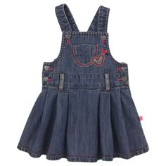 Stone-washed blue dress made o light denim. Shoulder straps with press studs. Heart-shaped press studs on the sides and at the waist. Flared shape at the bottom. Embroidered hearts on the chest. - $CA50.91