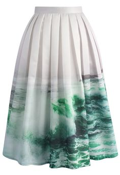 Coastal Demeanour Printed Midi Skirt - Rock - Bottoms - Retro, Indie and Unique Fashion