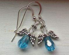 Blue Dangle Angel Earrings  Crystal Angel by MichelesAManoDesigns, $10.00