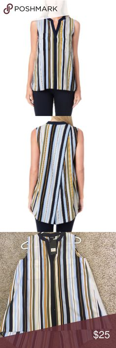 JNY Sleeveless Envelope Back Button Up Top This is an adorable top that pairs well with trousers, jeans, or leggings! Wear to work or dinner! Beautiful multicolor stripes, and a nice back that opens and flows beautifully. Jones New York Tops