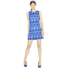 Alice + Olivia Dot Sleeveless Shift Dress ($396) ❤ liked on Polyvore