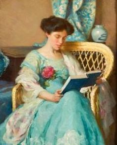 beautiful woman reading; books; art; blue dress; vintage; painting