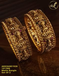 Bangle available at AnkhJewels for booking WhatsApp on Gold Bangles Design, Gold Jewellery Design, Gold Jewelry, Fancy Jewellery, Temple Jewellery, Indian Wedding Jewelry, Bangle Bracelets With Charms, Jewelry Model, Choker