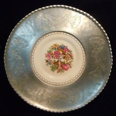 hammered serving tray: LIMOGES dish with colorful image of fruit and flowers in and around a pedestal urn.