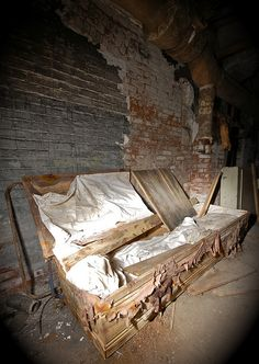 Coffin in abandoned mental institute