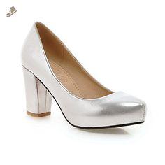 BalaMasa Womens Pull-On High-Heels Silver Imitated Leather Pumps-Shoes - 10.5 B(M) US - Balamasa pumps for women (*Amazon Partner-Link)