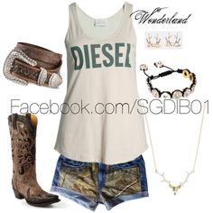 """Diesel Girl"" by madinwonderland on Polyvore Perfectly me!..except for the boots. Hunting/hiking boots would fit me better."