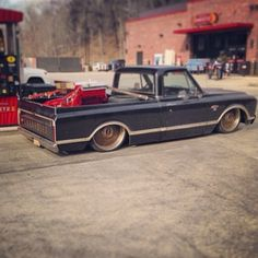 Hot Wheels - @rpmhotrods proving that you can actually haul in a bagged and custom truck, yet another awesome C10 by the team! #chevrolet #gmc #c10 #airsuspension #bagged #streettruck #minitruck #carporn #hotrod #lowfastfamous