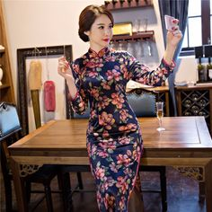 Womens Velvet Dress Girls Velour Cheongsams Hot Vintage Womens Elegant Chinese Qipao Cheongsam Evening Party Short Dress Finely Processed Traditional & Cultural Wear
