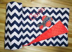 Airplane Minky Baby Blanket Riley Blake Medium by peepsboutique