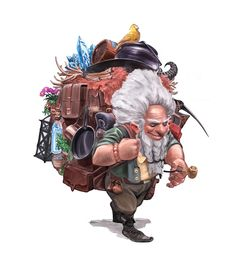 dwarf character with lots of luggage traveller DnD / PAthfinder character inspiration Character Concept, Character Art, Concept Art, Character Reference, Character Ideas, Dnd Characters, Fantasy Characters, Goblin, Fantasy Dwarf