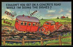 Vintage 1930's 1940's Travel Trailer camper Comic Linen Postcard | eBay