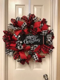 Christmas Wreath - Buffalo Plaid Wreath - Merry Christmas Burlap Wreath - Holiday Wreath - Christmas Decoration - Front Door Decor This wreath is approximately 26 inches GreetDiy christmas wreath ideas to decorate your holiday season 35 - GODIYGO. Unique Christmas Ornaments, Christmas Door, Diy Christmas Gifts, Rustic Christmas, Merry Christmas, Christmas Holidays, Christmas Decorations, Christmas Ideas, Plaid Christmas