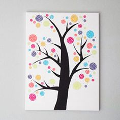 Oh for the love of polka dots! Make this fun tree to hang on your wall. Great for a nursery too!