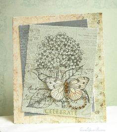 This card was made with HERO ARTS Hydrangea Antique Engravings Friend and All Occasion Messages Bird Cards, Butterfly Cards, Flower Cards, Red Butterfly, Flower Stamp, Hero Arts, Ideas Geniales, Card Making Inspiration, Card Sketches