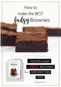 A homemade brownie recipe for a fudgy brownie. The recipe in my FREE desserts ebook. Homemade Brownies, Fudgy Brownies, Brownie Recipes, Free Food, Delicious Desserts