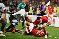 October 10 2019 - Wing Josh Adams scored a magnificent hat-trick of tries as Wales came from behind to defeat Fiji and secure their quarter-final place at the Rugby World Cup Welsh Rugby Team, Wales Rugby, Rugby Sport, Rugby World Cup, October 10, Public Relations, Fiji, Hat, Sports