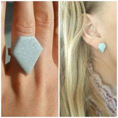 Diamond Fashion Fimo Ring PLUS Diamond Fashion Fimo Earrings - special offer. $6.20, via Etsy.