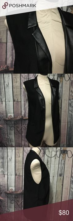 Karlie Chic Vest Textured fabric. Faux leather lapel and faux pockets. karlie Jackets & Coats Vests
