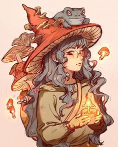 character art The Witch amp; her familiar. Comment a name for this character! Lil Backstory: The Mushroom witch is a student studying healing magic. Kunst Inspo, Art Inspo, Cartoon Kunst, Cartoon Art, Cartoon Drawings, Cartoon Witch, Art And Illustration, Character Illustration, Art Illustrations