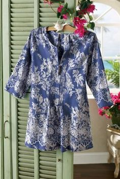 Nimes Tunic - Lightweight Tunic, Cutwork Embroidery, Floral Toile | Soft Surroundings | I have it in white, now I want this one too. Must wait for a sale or it goes to the outlet. ♥