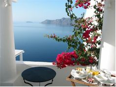 Breakfast at Katikies Hotel, Santorini Greece.  My own private room and breathtaking view.