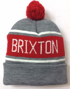 7f6a5910f82 New 28 BRIXTON POM BEANIE Gray Red Off-White Cuffed Winter Knit Ski  Men Women  Brixton  Beanie
