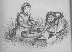 Little House  Garth Williams Illustrations   Garth Williams Little House Illustrations   pioneers, family cooking ...