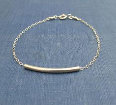 Curved Gold Bar Bracelet Sliding Bar Bracelet by ZhivanaDesigns