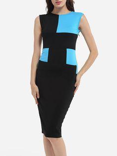 #AdoreWe #FashionMia Bodycon Dresses - FashionMia Round Neck Dacron Color Block Bodycon-dress - AdoreWe.com