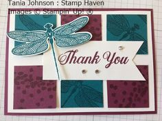 Tania Johnson : Stamp Haven, Independent Stampin' Up! Demonstrator, Onstage November 2017 Card Swap. #onstage2017 #loveitliveitshareit #Dragonfly Dreams #thank you #dragonfly #card #homemade