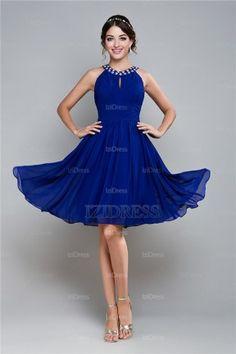 880e5e13b19953 Chiffon kleid knielang blau – Beliebte kurze kleider