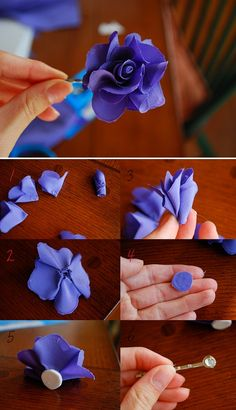 DIY flower- can be made into pin, barrette, headband, and put on any clothing item or accessory! (etsy idea!)