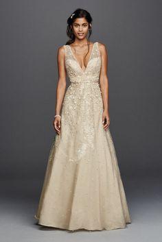 Extra Length Tulle Melissa Sweet Deep V-Neck Wedding Dress - Solid Ivory, 2