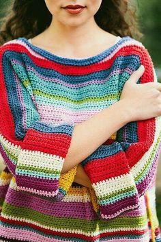 Ravelry: Project Gallery for Rainbow Jumper pattern by Ali Campbell Crochet Jumper, Knit Crochet, Jumper Patterns, Knitting Patterns, Style Grunge, 90s Grunge, Soft Grunge, Grunge Outfits, Grunge Look