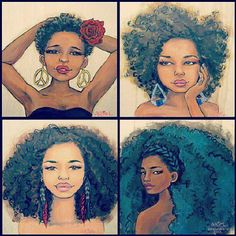 Stages of natural hair.