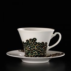 Exclusive porcelain Fine Bone China. Thin porcelain ivory. Two hand-painted cups Blue.