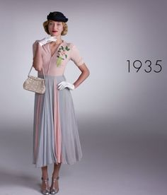 Pin for Later: Watch 1 Woman Wear 100 Years of Fashion Trends in 2 Minutes 1935