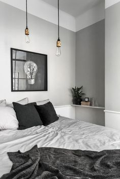 gray bedroom with pop of color 15 Bedroom Interior Design Ideas with Monochrome Themes For a More Elegant Look - Home Decor Monochrome Bedroom, Gray Bedroom, Modern Bedroom, Master Bedroom, Grey Room, Stylish Bedroom, Bedroom Small, Wood Bedroom, Bedroom Bed